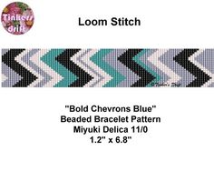 Bold Chevrons with Turquoise Loom Beaded Bracelet by TinkersDrift