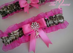 This adorable garter set has Realtree APG Satin Camo print and Shocking Pink organza trim. They are embellished with Shocking Pink satin bows, pearl and rhinestone brooch. You may choose between four                                                                                                                                                                                  More