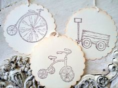 Tricycle Wagon Vintage Bicycle Gift Tags, Boy Birthday, Travel Theme, Set of 6. $4.75, via Etsy.