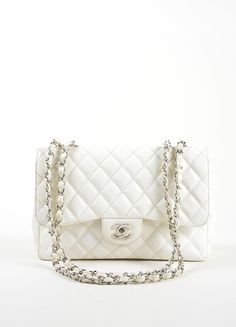 White Quilted Caviar Leather Jumbo Classic Double Flap Shoulder Bag
