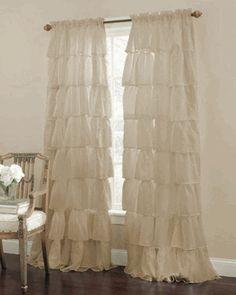 "Gypsy Ruffled 84"" Curtain Panel, Sand, by Lorraine Home Fashions"