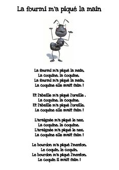Songs and nursery rhymes Honoré School Group of Balzac Saint-Priest French Teaching Resources, Teaching French, Teaching Tools, Teaching Kids, Activities For 2 Year Olds, Preschool Activities, French Poems, Core French, French Education