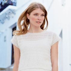 Girl wearing lace-style knitted top - Get the lacy look: free knitting pattern - Craft - allaboutyou.com