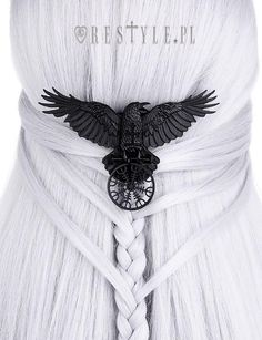 """One of a kind Gothic hairclip, nordic protection talisman, black crow, healing rune """"HELM OF AWE RAVEN HAIRCLIP"""" from one of a kind gothic brand in the World. Check out our unique clothes, accessories and more shipped worldwide! Nordic Wedding, Viking Wedding, Pagan Wedding, Bobby Pin Hairstyles, Headband Hairstyles, Gothic Hairstyles, Wedding Hairstyles, Womens Fashion Online, Latest Fashion For Women"""