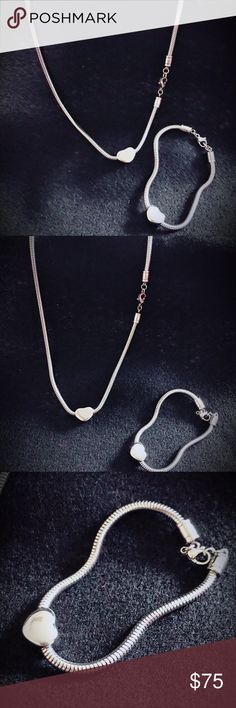 2pc stainless steel heart  necklace and bracelet. Stainless steel  silver 2pc set necklace and bracelet . New Other