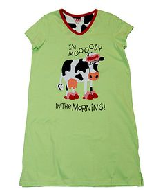 Loving this Lime Green 'I'm Moooody in the Morning' Tee - Women on #zulily! #zulilyfinds