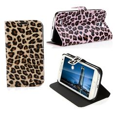 Leopard Print Flip Wallet Style Case Cover for Samsung Galaxy S4 i9500 i9505