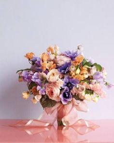 Bouquet colorato con punte viola