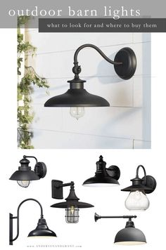 Everything you need to know about shopping for outside barn lights to hang on your modern farmhouse or industrial style home including inspiring photos, what will work for your space and where to buy Farmhouse Kitchen Lighting, Farmhouse Light Fixtures, Industrial Farmhouse, Farmhouse Design, Industrial Style, Farmhouse Decor, Farmhouse Sinks, Rustic Kitchen, Outdoor Farmhouse Lighting