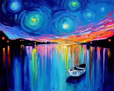 Midnight Harbor impasto abstract boat in lake landscape by Aja, I love her art.  Have 3 pieces and want more!