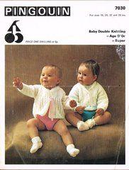 Pingouin 7030 baby matinee coat cardigan vintage knitting pattern