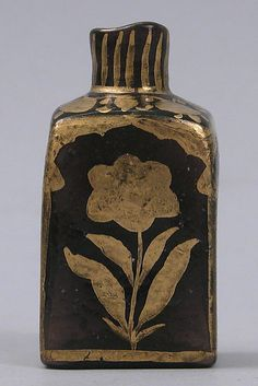 18th C. Northern India. Glass Bottle with Gilded Flowers. Mold-blown purple glass. Mughal-Islamic.