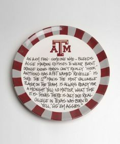 Whats the definition of an Aggie fan? Youll never have to explain it to your guests with this plate! Large enough as a serving platter and p...
