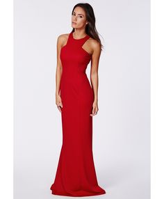 Kaisa Crepe High Neck Maxi Dress Red - Dresses - Missguided