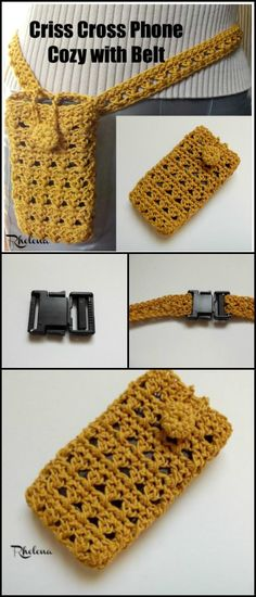 Crochet Criss Cross Phone Cozy with Belt - 50 Free Crochet Phone Case Patterns - Page 2 of 5 - DIY & Crafts