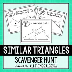 Similar Triangles Scavenger Hunt by All Things Algebra Student Teaching, Math Teacher, Teacher Pay Teachers, Teaching Geometry, Geometry Activities, Stem Activities, Finding Angle Measures, Similar Triangles, Network Drive