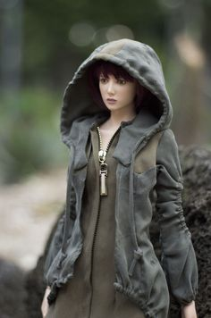 Jacket-like one-piece with hoodie  ''Green Seekers'' (OS-411)