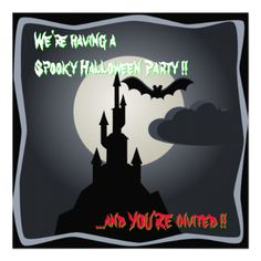 A spooky Halloween Party invitation. The front shows a moonlit castle with flying bat and the back has devilish imps, glowing pumpkins and ghostly spider hanging from a web in the corner. Fully customisable party details have room for Who, where and when as well as for an RSVP telephone number.