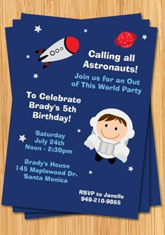 Invite ideas for z rocket shipouter space party pinterest astronaut birthday party invitation filmwisefo