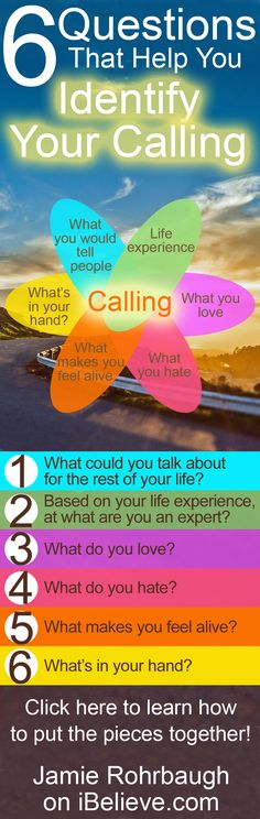How to identify your calling based on 6 questions about yourself. You can know what God has called you to do! by Jamie Rohrbaugh on iBelieve.com