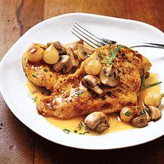 Chicken Cutlets with Tarragon-Mushroom Sauce   MyRecipes.com