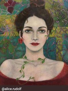 by Alice Rudolf, oil on canvas Portrait Acrylic, Abstract Portrait, Portrait Art, Expressive Art, Portraits, Whimsical Art, Figure Painting, Face Art, Art Techniques