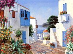 Santorini by Peter Motz Landscape Art, Landscape Paintings, Les Balkans, Pintura Exterior, Painting Wallpaper, Hd Wallpaper, Art And Architecture, Painting Inspiration, Beautiful World