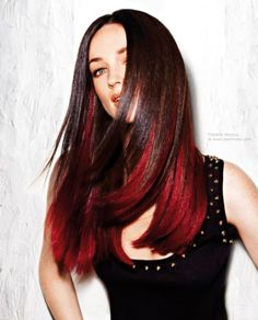 Dip dyed hair with brown and red