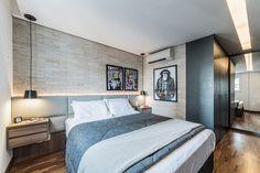 cabeceira - cabeceira de couro cinza e luminária metálica Home Design Decor, House Design, Interior Design, Home Decor, Design Ideas, Beautiful Bedroom Designs, Beautiful Bedrooms, Latest Bedroom Design, Industrial Style Bedroom