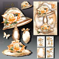 Fashion Vintage Hat with Peach Roses on Craftsuprint designed by Atlic Snezana - Fashion Vintage Hat with Peach Roses:4 sheets for print with decoupage for 3D effect plus few sentiment tags (for your own personal text)  - Now available for download!