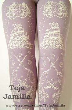 Pirate Printed Tights Sailor Nautical Large Octopus Narwhal Squid Skull and Anchor White Pearl on Lavender Women. $25.65, via Etsy.