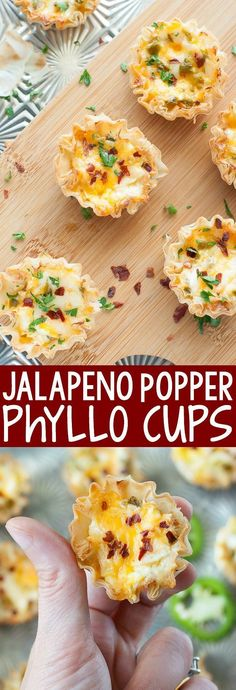 Baked Jalapeño Popper Phyllo Cups Baked Jalapeno Popper Phyllo Cups - Easy to make and even easier to eat, these baked jalapeno popper phyllo cups are the ULTIMATE appetizer! Phyllo Recipes, Appetizer Recipes, Cooking Recipes, Pilsbury Recipes, Pepperoni Recipes, Vol Au Vent, Finger Food Appetizers, Appetizers For Party, Finger Foods