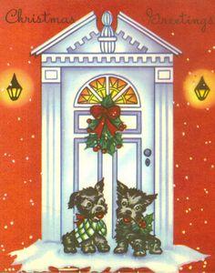 Vintage Christmas Card Black Scotties by TheVintageGreeting