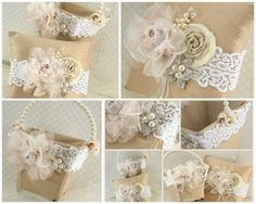 Flower Girl Basket and Ring Bearer Pillow Set in Ivory, Champagne and Blush pink with Dupioni Silk, Lace, Pearls and Crystal Brooches, $215.00