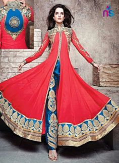 SC 12494 Red and Blue Georgette Multicolor Replica