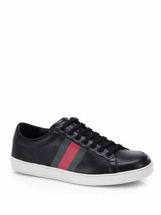 Gucci Men's Perforated Leather Black Low-Top Sneakers 11G / 12US / 45EU NIB $490 #Gucci #FashionSneakers