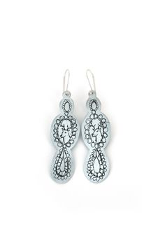 'Storylines'  Earrings, 2012, zinc, silver.  Made by Malou Paul. www.maloupaul.nl