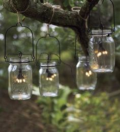 Glass Mason Jar Solar String Lights - $49.95 » There's something magical about lights twinkling in the canopy of the trees in the evening. These are great for entertaining or a quiet romantic evening with someone special.