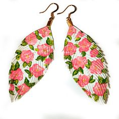 Floral Fashionista -  WHITE - Hand Painted  Faux Leather Feather Earrings 14k Gold - Free Shipping. via Etsy.