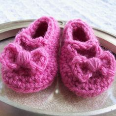 crochet bitty bows baby mary jane booties