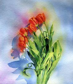 Tulips, Marlies Merk Najaka, Watercolor