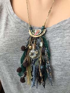 Your place to buy and sell all things handmade - Upcycled Woodland Fairy Bottle Cap Tassel Necklace, eco friendly jewelry, boho necklace, repurposed - Jewelry Crafts, Jewelry Art, Fashion Jewelry, Jewellery Box, Handmade Jewelry, Textile Jewelry, Fabric Jewelry, Fabric Necklace, Boho Necklace