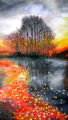 Fall sunset by the river by Marie-Line Vasseur