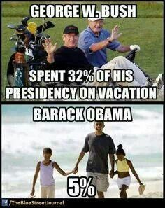 And Trump's spent like at least 80% of his on vacation, probably more