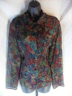 CHICO'S Travelers Multi Color Print  Travel Top SZ 2 #Chicos #Blouse #Casual