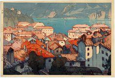 Woodblock 1925 Hiroshi Yoshida - Lugano
