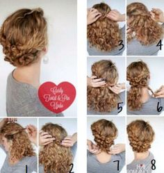 Need ideas for an up-do for a special date this week? Here is a pic tutorial for a romantic curly hairstyle for Valentine's.  #QRedew #ValentinesDay #CurlyHairstyles