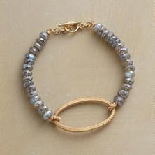 MODERN KEEPSAKE BRACELET -- Using an age-old wire-wrapping technique, Dana Kellin creates this deftly refined, keepsake-worthy labradorite bracelet. The design combines labradorite's shimmering elegance with gold-filled wires. Gemstone Bracelets, Gemstone Jewelry, Jewelry Bracelets, Pearl Necklaces, Strand Bracelet, Wire Jewelry, Beaded Jewelry, Jewelery, Artisan Jewelry