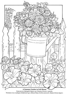 dover publications - a printable flower garden pic to colour
