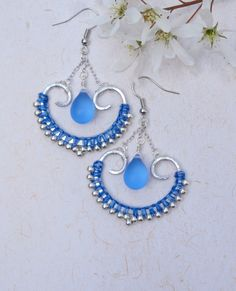 Silber-blau-Makramee, östlichen Ohrring, Ohrring Indian, wulstige Makramee, handgemacht, Orientalisch, Mikro-Makramee-Schmuck Schmuck ist